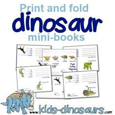 Free #dinosaur printables - print and fold mini booklets perfect for lapbooks or unit studies. www.kids-dinosaurs.com