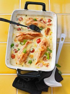 Mozzarella-Hähnchen in Basilikum-Sahnesauce