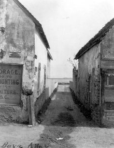 Looking down Baya Lane - Saint Augustine, Florida; this is now where the exterior entrance to the Hilton Bayfront is
