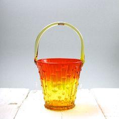 Italian Glass  Basket  Ice Bucket  Vase  Murano  by afterglowretro, £14.00
