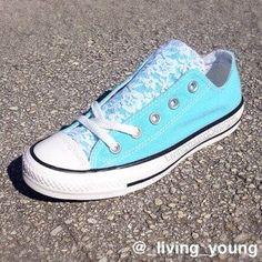 Something blue. ;) Floral Lace Blue Converse Shoes $95 #floral #lace