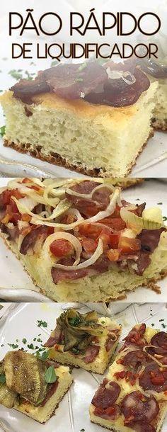 Receita extremamente fácil e rápida de Pão rápido de liquidificador Com sugestão de coberturas e acompanhamento de berinjela e abobrinha marinada