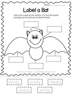 Free - Bat - Halloween - Fun - Activity Your students will love labeling the parts of this bat cutie! They will trace the words, cut them out, the. Science Halloween, Halloween Activities, Halloween Themes, Halloween Fun, Bat Activities For Kids, Halloween Makeup, Kindergarten Science, Kindergarten Classroom, Classroom Activities