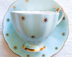 ON HOLD-Sweet Robin's Egg Blue Gold Star Queen Anne 1950's Teacup and Saucer//Mid Century Modern Teacup - Edit Listing - Etsy