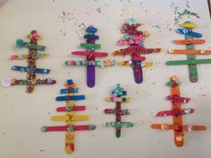 """Lolly stick Christmas trees from Evans Head Woodburn Pre-School ("""",)"""