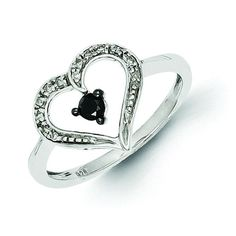 Now available on our store: Sterling Silver B... Check it out here! http://shirindiamond.net/products/sterling-silver-black-and-white-diamond-heart-ring-qr3294?utm_campaign=social_autopilot&utm_source=pin&utm_medium=pin
