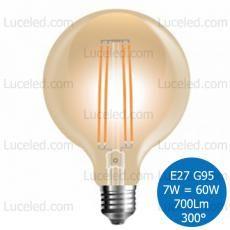 V-TAC VT-2027 LAMPADINA LED GLOBO AMBRATA FILAMENTO E27 7W = 60W G95 300° 700LM