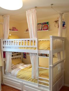 Bunk Bed Curtains using Ikea products: Dignitet wire curtain rod set and Lattjo curtains