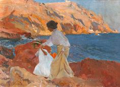 Joaquin Sorolla Y Bastida Clotilde and Elena on the Rocks at Javea hand painted oil painting reproduction on canvas by artist Spanish Painters, Spanish Artists, Art Plage, Galleries In London, Art Plastique, Figure Painting, Monet, Figurative Art, Strand