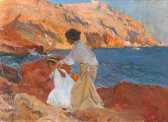 Cuadro Clotilde Y Elena en las Rocas, obra en la que el pintor valenciano retrata a su esposa e hija caminando sobre las rocas en la playa. Artista Joaquín Sorolla y Bastida.