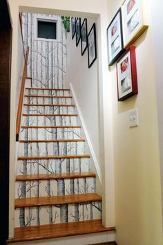 wallpaper your stair risers as well as the wall directly above ~ a vertical print would work best