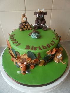 "Gruffalo cake ~ We Love the Gruffalo ""A mouse took a walk through the deep dark wood"" Owl Cake Pops, Apple Cake Pops, Pretty Cakes, Beautiful Cakes, Amazing Cakes, Big Cakes, Fancy Cakes, Cake Cookies, Cupcake Cakes"