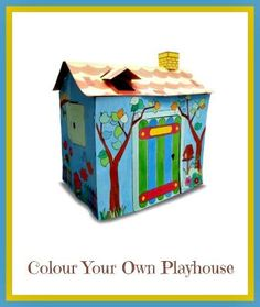 COLOUR YOUR OWN PLAYHOUSE £25 PLUS £3.50 P&P Flat Packed Cardboard Set that folds and slots together into a 96.5cm tall Playhouse The completed house ...