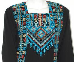 This Classic Embroidered Palestinian Fellaha Dress is more of an artwork rather than just a dress. Perfect to wear as an Islamic Wedding dress, a pre-wedding Henna Party Dress, for Eid, or any special occasion. This thobe is fully embroidered in a classic Palestinian pattern. The bodice, front & back...