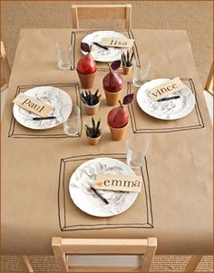 Cover the kid's table with butcher paper they can draw on! Great idea to keep them entertained during long holiday meals.