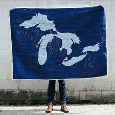 Haptic Lab Great Lakes Quilt - Navy - Askov Finlayson Can we include? Made in Brooklyn but sold at Askov Finlayson in Minneapolis Haptic Lab, The Mitten State, Lake Art, Man Quilt, Great Lakes, Outdoor Outfit, Home Decor Furniture, Cool Gadgets, Warm And Cozy