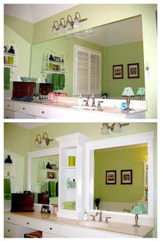 Add trim, molding, and a shelving unit to give your mirror a makeover without having to remove or cut it