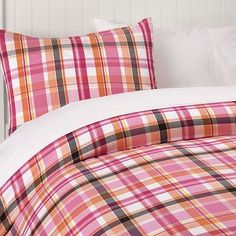 Pink and orange bedding from PBTeen.