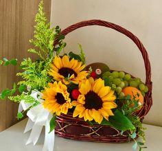 Well Wishes Basket Basket Flower Arrangements, Flower Arrangement Designs, Fruit Arrangements, Beautiful Bouquet Of Flowers, Dried Flower Bouquet, Dried Flowers, Fruit Flower Basket, Flower Boxes, Homemade Gift Baskets