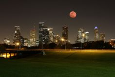 Lunar Eclipse Over Downtown Houston