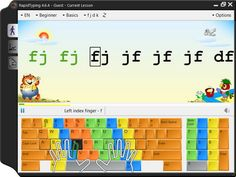 This is a game that children can play to learn and develop their typing skills. It is color coded to show the students where to put there hands. It teaches spelling and typing at the same time. Free Typing Tutor, Typing Skills, Typing Games, Learn To Type, Learn To Read, Typing Programs For Kids, Keyboard Lessons, Computer Class, Computer Science