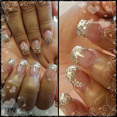 Bling gold franch nail