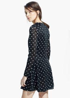 MANGO Polka-dot flared dress