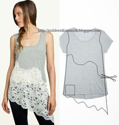 asymmetrical lace added to T