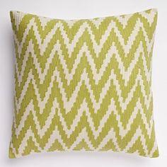 Chevron Crewel Pillow Cover - Leek #westelm