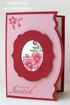 handmade card ... pink and burgundy ... luve the border die cut and embossed ... Framelits, Edgelits and Bordering on Romance ... Stampin' Up!