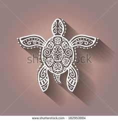 Decorative graphic turtle, tattoo style, tribal totem animal, raster illustration, lace pattern
