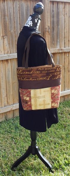 Tote Bible Bag Handmade Tote Fabric Handbag by CrossMyHeartBags