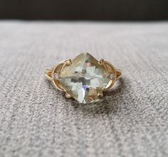 """Antique Green Amethyst Diamond Ring Mint Emerald Rectangle Art Deco Checkerboard Cushion Gemstone Engagement Ring 14K Gold """" The Celeste"""" by PenelliBelle on Etsy https://www.etsy.com/listing/516757157/antique-green-amethyst-diamond-ring-mint"""