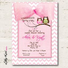 Owl Baby Shower Invitation Couples Girl by LibbyKateSmiles on Etsy