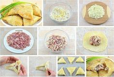 Samsa with chicken / Fashion Style Good Food, Yummy Food, My Best Recipe, Russian Recipes, My Recipes, Tart, Cereal, Chicken, Vegetables