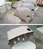 Shelter in a fake rock. Outdoor cat/feral/stray idea. This page has all kinds of ideas for outside cats/strays, both pre-made and DIY.