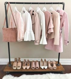 blush sweaters clothing rack neutral shoes rolling clothing rack with wooden shoe rack spring fashion wardrobe rack white bell sleeves Pink Wardrobe, Capsule Wardrobe, Wardrobe Rack, Wardrobe Ideas, Pink Outfits, Trendy Outfits, Wooden Shoe Racks, Mode Rose, Stylish Petite