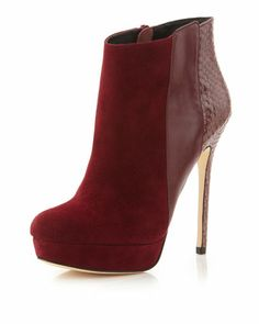 "Scarlett Mixed-Media Bootie, Royal by Charles David at Neiman Marcus Last Call. (Cute but those 5"" heel days are over!)"