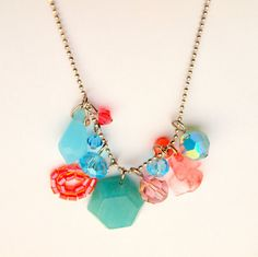Turquoise and peach long multipendant necklace