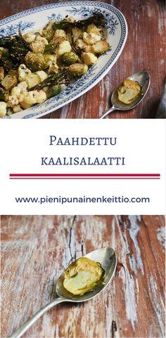 Paahdettu kaalisalaatti, maukas lisuke ruokapöytään. Baked Potato, Camembert Cheese, Potatoes, Vegetarian, Baking, Ethnic Recipes, Food, Potato, Bakken