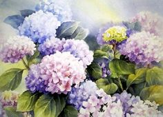Watercolor Landscape, Watercolour Painting, Watercolor Flowers, Painting & Drawing, Hydrangea Painting, Flower Backdrop, Flower Oil, Art Background, Hydrangeas