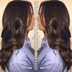 Cool toned brunette with soft balayage dimension. Hair by Danni in Denver, CO