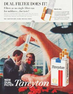 "Description: 1959 TAREYTON CIGARETTES vintage magazine advertisement ""Dual Filter Does It"" -- Dual Filter Does It! Filters as no single filter can for mildness ... for taste! -- Size: The dimensions of the full-page advertisement are approximately 10.5 inches x 13.5 inches (26.75 cm x 34.25 cm). Condition: This original vintage full-page advertisement is in Excellent Condition unless otherwise noted."