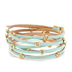 Turquoise leather strap bracelet