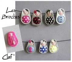 Fill the soda tab holes with clay to create these cute little dolls that can be used as pendants for jewlery.