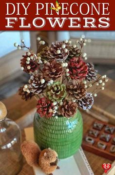 Easy Rustic Decor Idea: DIY Pinecone Flowers (Beautiful for any season or holiday!)  <br> A fun and easy craft idea for adults! Pine Cone Art, Pine Cone Crafts, Pine Cones, Diy Gifts For Christmas, Rustic Christmas, Christmas Wreaths, Pine Cone Christmas Tree, Christmas Bulbs, Xmas