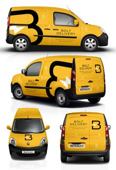 Design a smart and eye-catchy van wrap for BOLT! Our company provides platform for courier services (incl. documents, parcels, food and furniture) and our target . Graphisches Design, Truck Design, Logo Design, Van Signage, Car Lettering, Vehicle Signage, Van Wrap, Vans Logo, Transporter