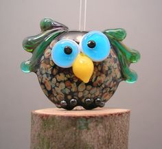 Glass Flutter Owl Lampwork Bead Focal SRA Animal by 2CoolBeads, $16.00