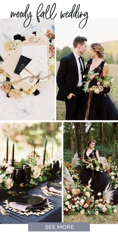 This moody fall forest wedding shoot at The Ivy Rose Barn has drama and romance, with statement flower arrangements in jewel-tone fall colors, a black bridal gown by Claire La Faye, and the most incredible fine art bridal portraits by Nicole Colwell! Every luxurious detail is designed around the woodland setting, from the glamorous bridal style to the organic flower arrangements and black and gold reception decor! Rustic Red Wedding, Gold Wedding Theme, Fall Wedding Colors, Forest Wedding, Wedding Shoot, Autumn Wedding, Intimate Wedding Reception, Fall Flower Arrangements, Rose Gold Decor