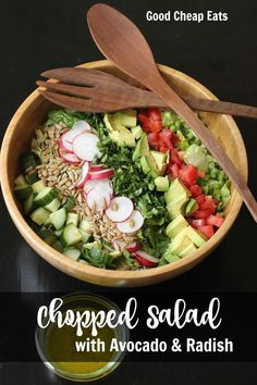 Chopped Salad with Avocado and Radish | Good Cheap Eats - Celebrate the fresh flavors of fruits and veggies with this Chopped Salad featuring avocado, radish, cucumbers, and sunflower seeds. So delicious!